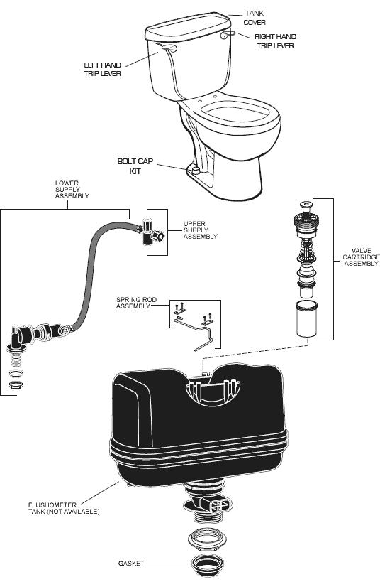 American Standard 2377 100 El Toilet Parts