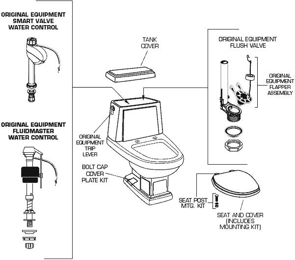 American Standard 2176 124 Heritage Toilet Repair Parts