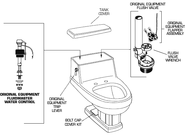 American Standard 2071 016 Heritage One Piece Toilet Parts