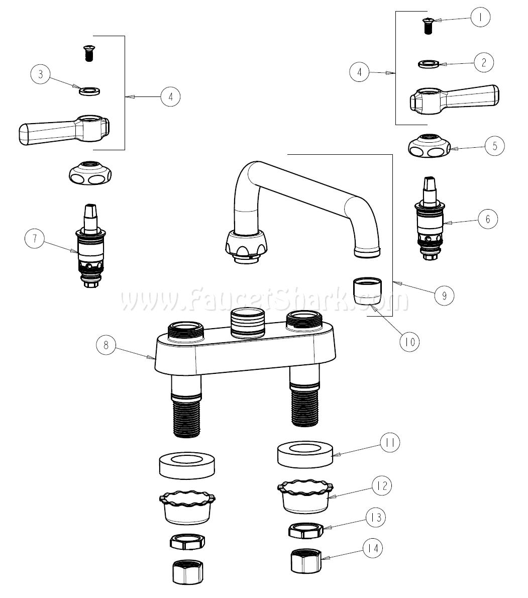 Chicago Faucets 895 L12abcp Parts