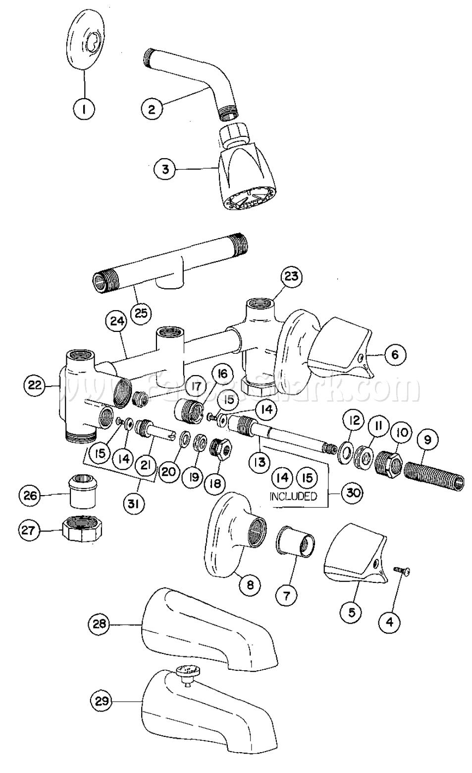 Crane R8450 Riviera Shower Faucet Parts