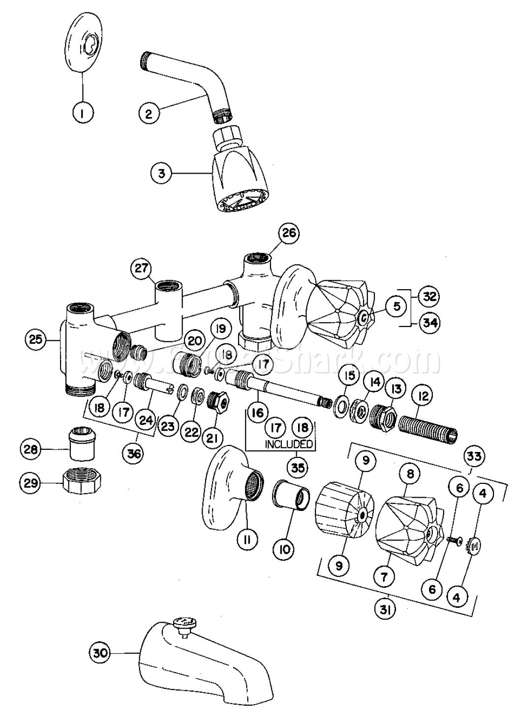 Crane R8360H2 Riviera Bath And Shower Faucet Parts