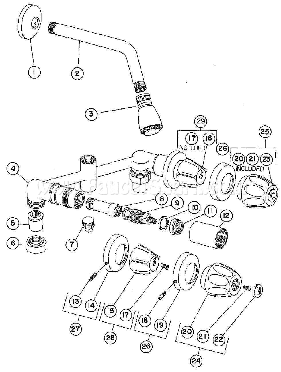Crane 8-2356 Capri Concealed Shower Faucet Parts