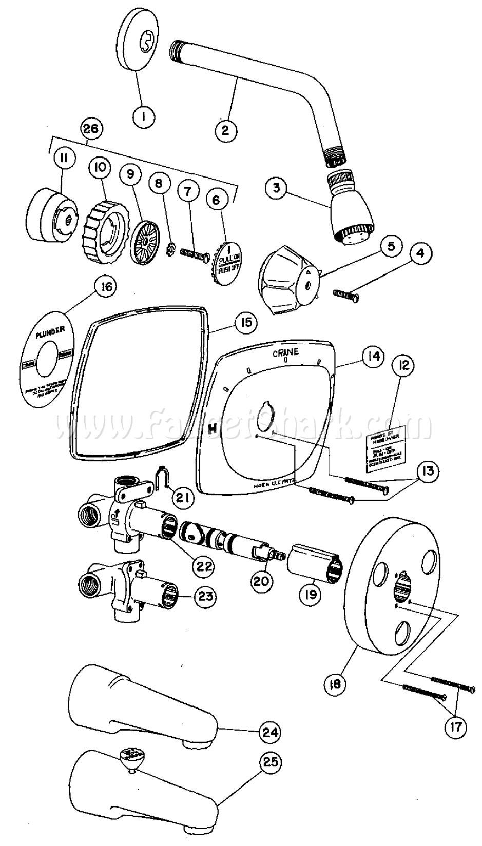 Crane 8-2420 Capri Dialette Single Shower Faucet Parts