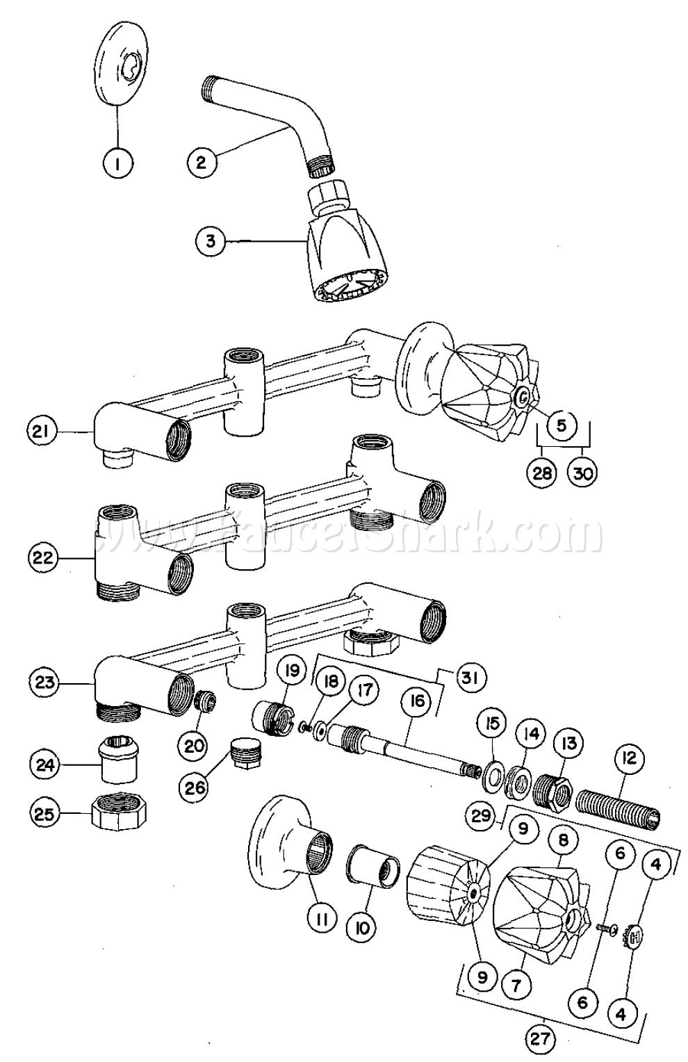 valve shower faucet parts