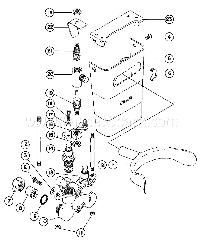 Crane Valve Replacement Parts : Crane h hospital knee valve parts