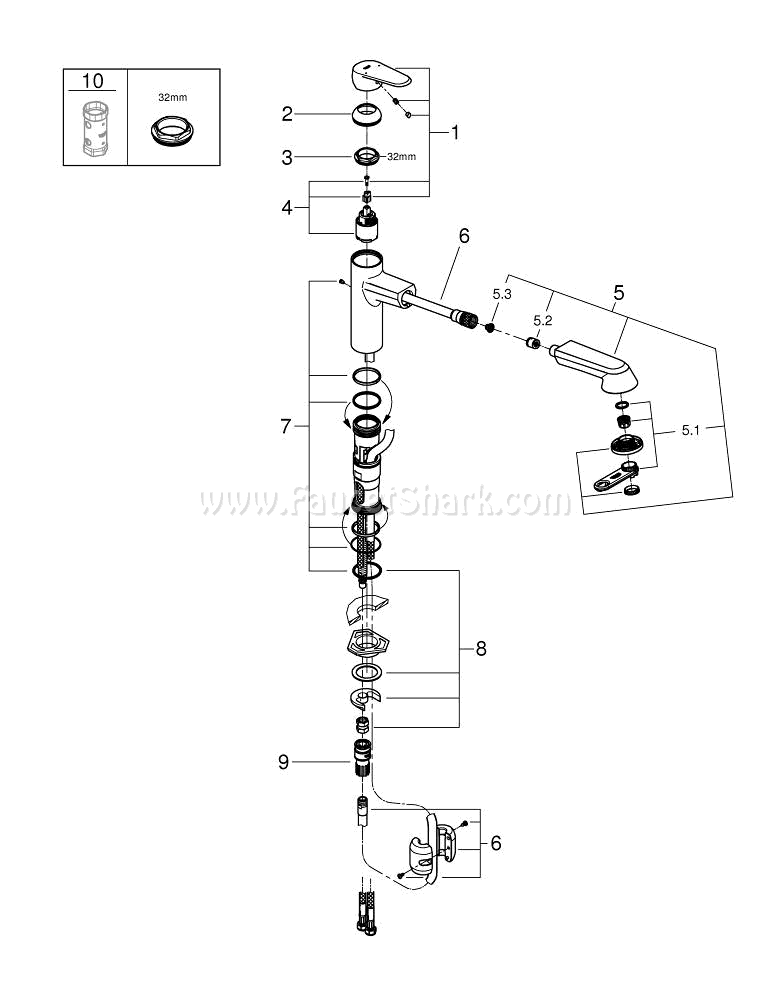 Grohe 33330002 Repair Parts
