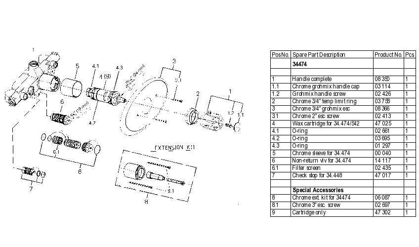 Grohe 34474 Thermostatic Valve Parts