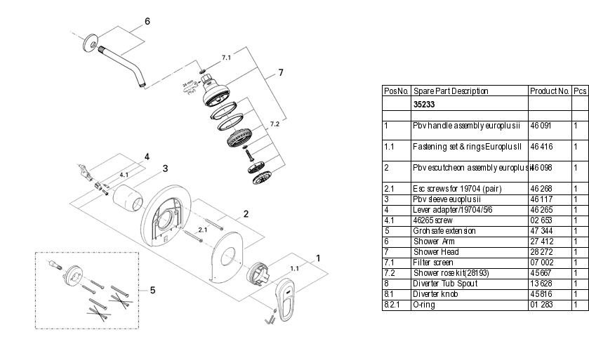 Grohe 35233 Shower Valve Parts