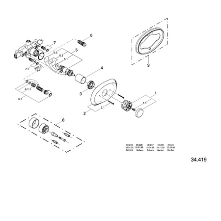 Grohe Thermostatic Shower Valve Parts.Grohe 34419 Thermostatic Valve Parts