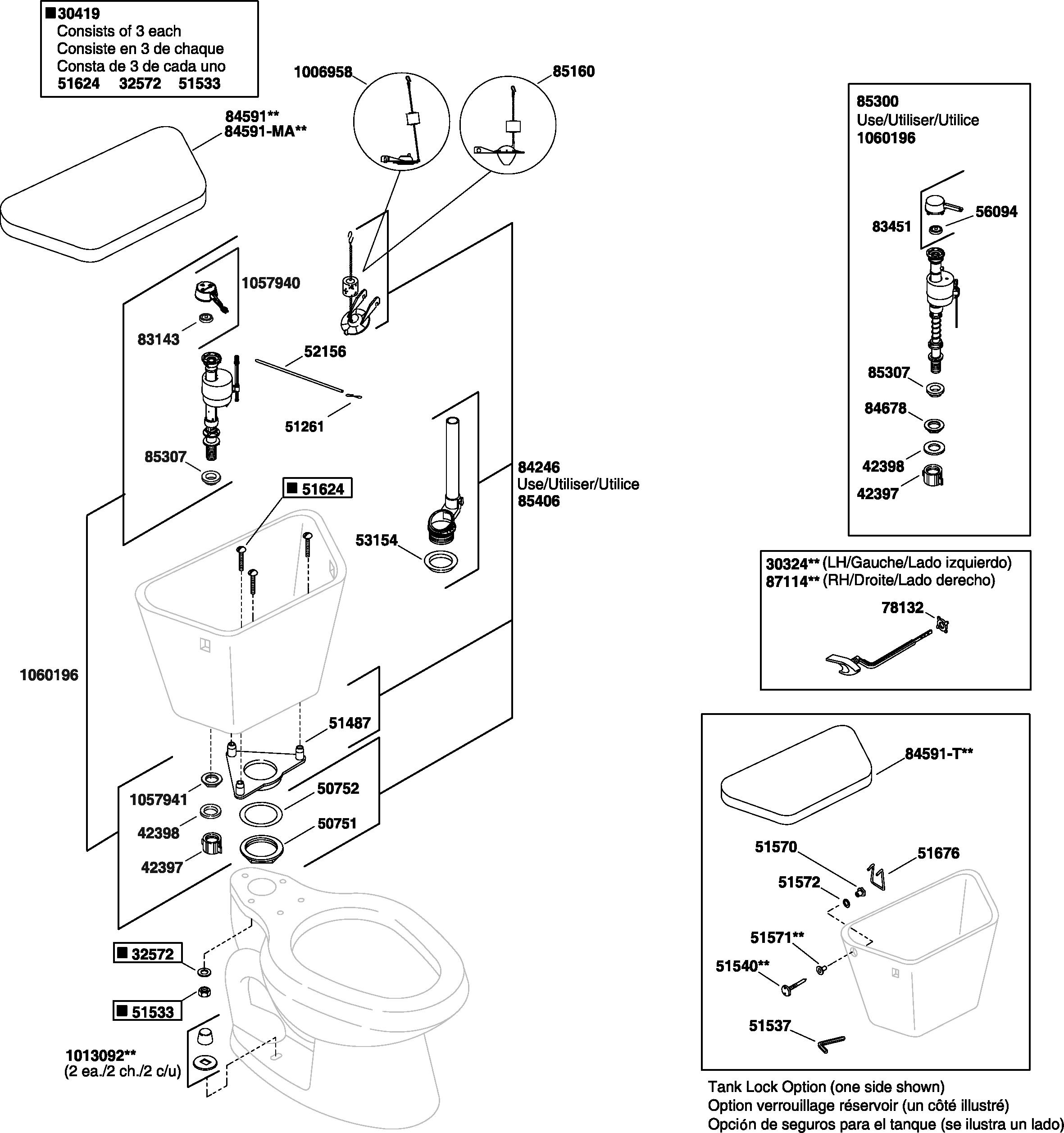 Kohler K 11465 Cimarron Toilet Parts