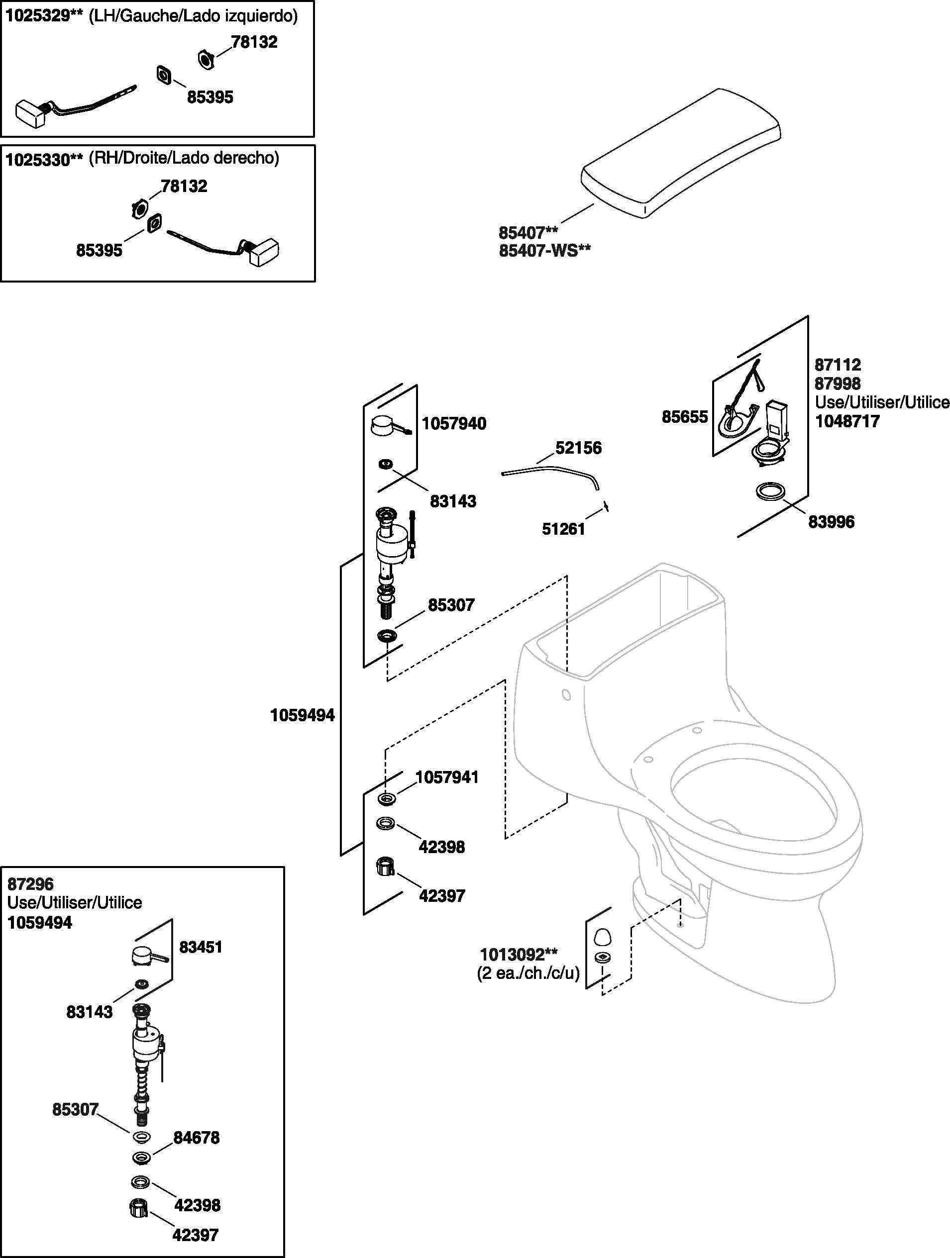 Kohler K-3322 Gabrielle Toilet Parts