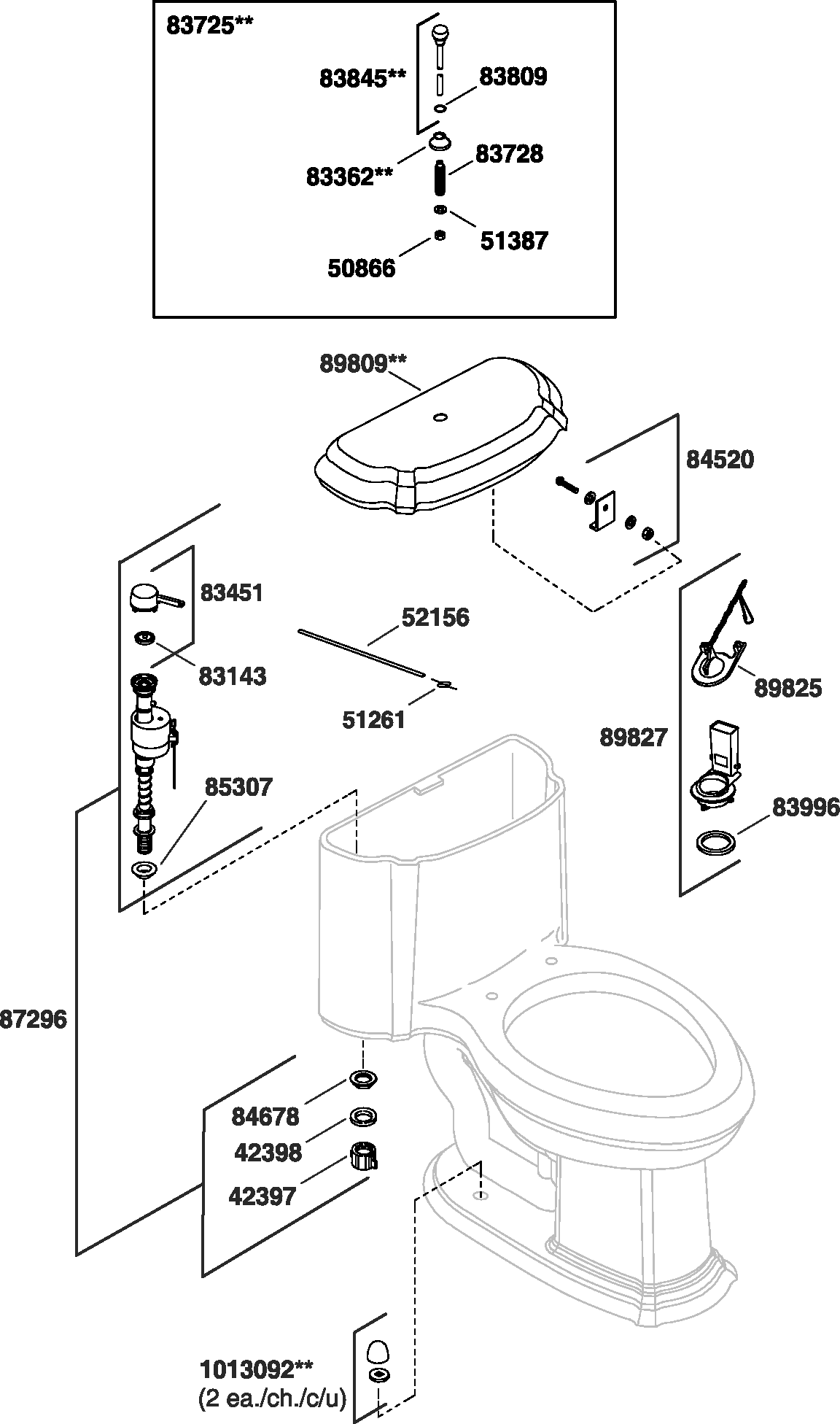 Kohler K-3357 Portrait Toilet Parts