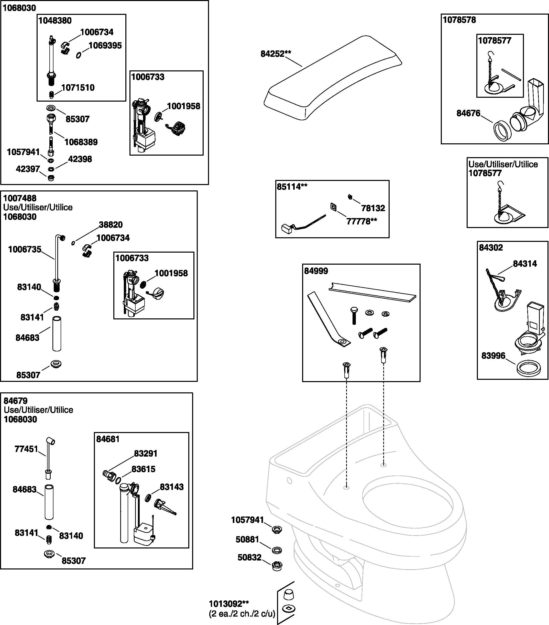 Kohler K-3386 Rialto Toilet Parts