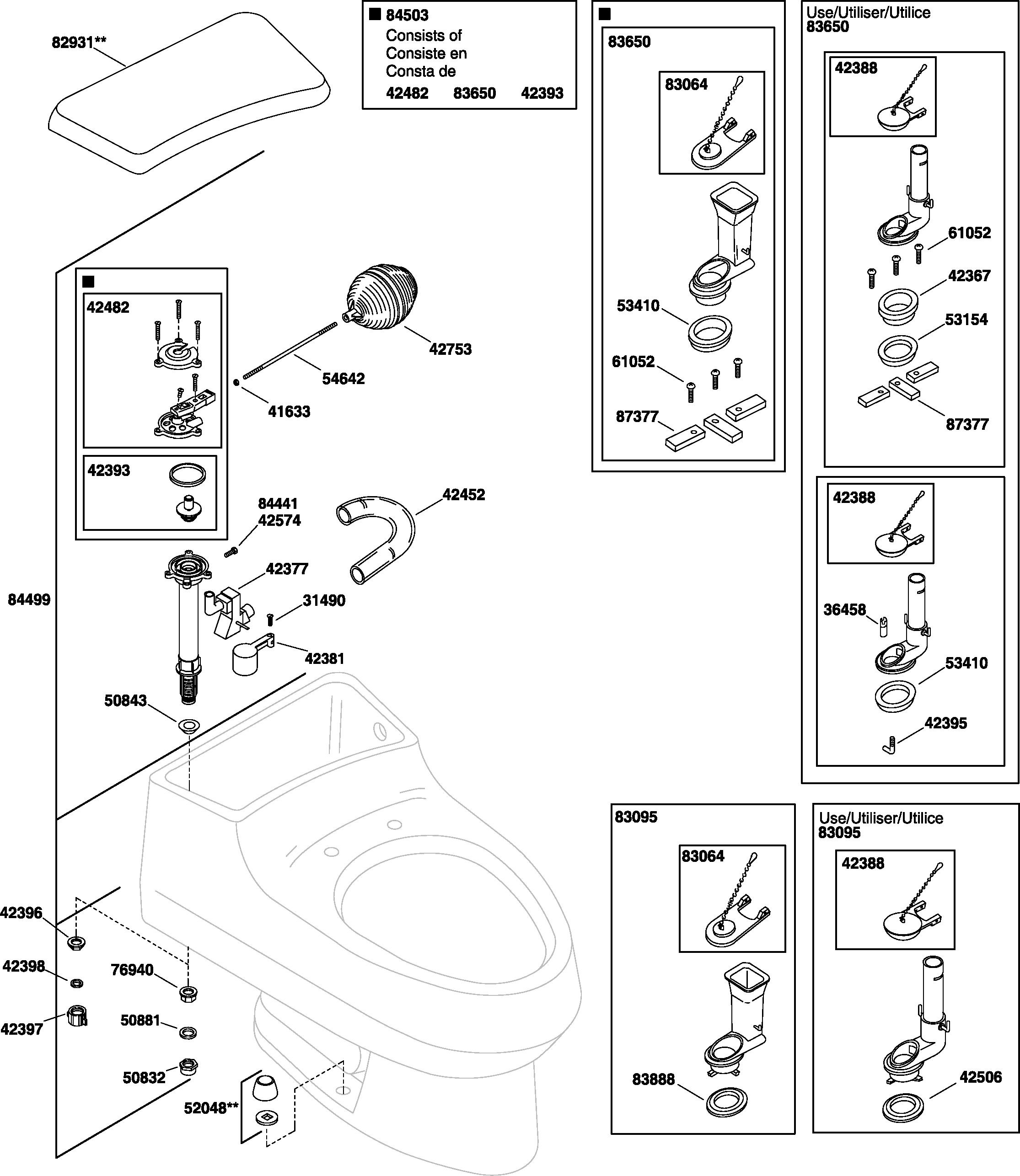 Kohler K 3397 San Raphael Toilet Parts