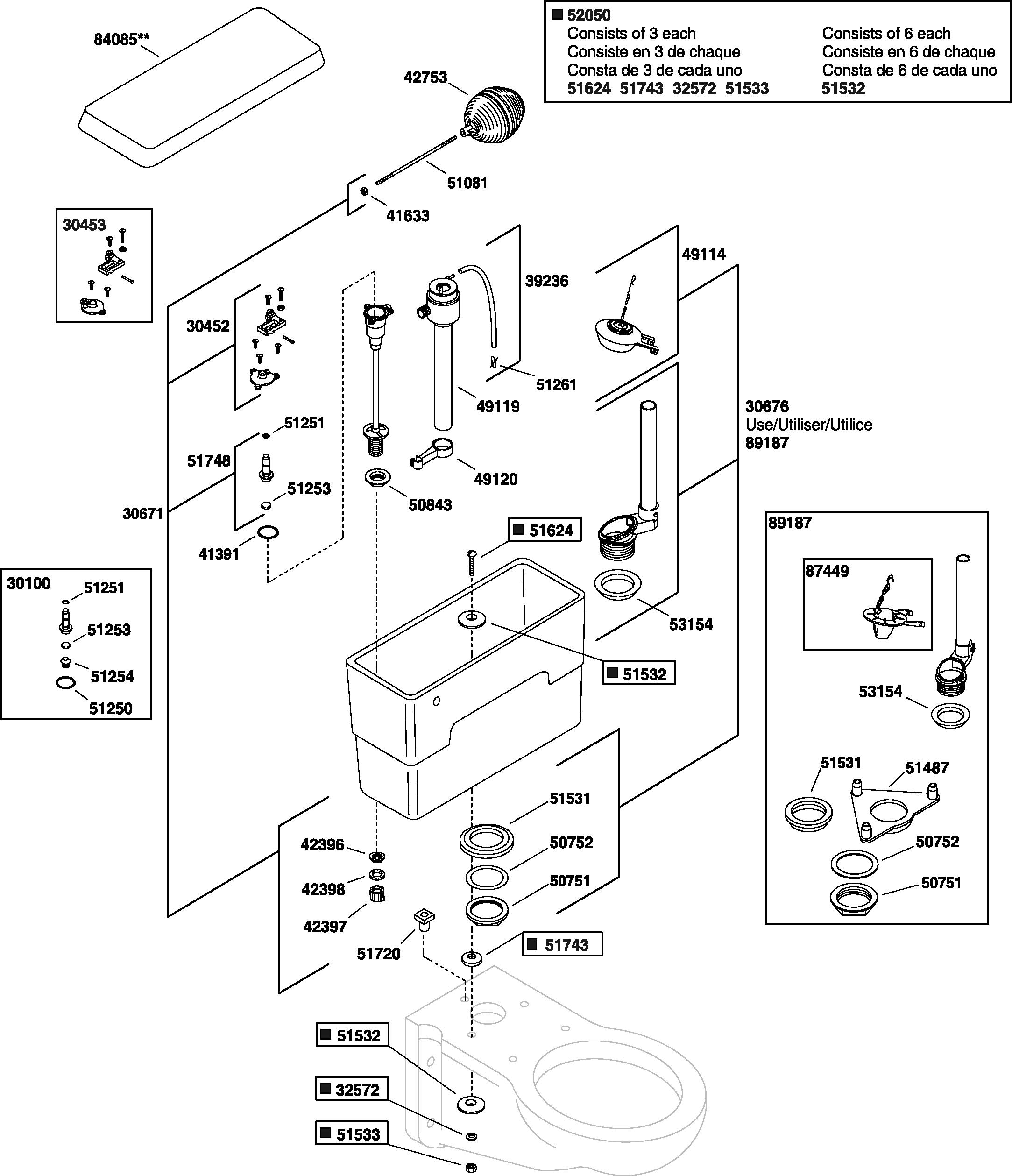 Kohler K 3440 Cayuga Toilet Parts