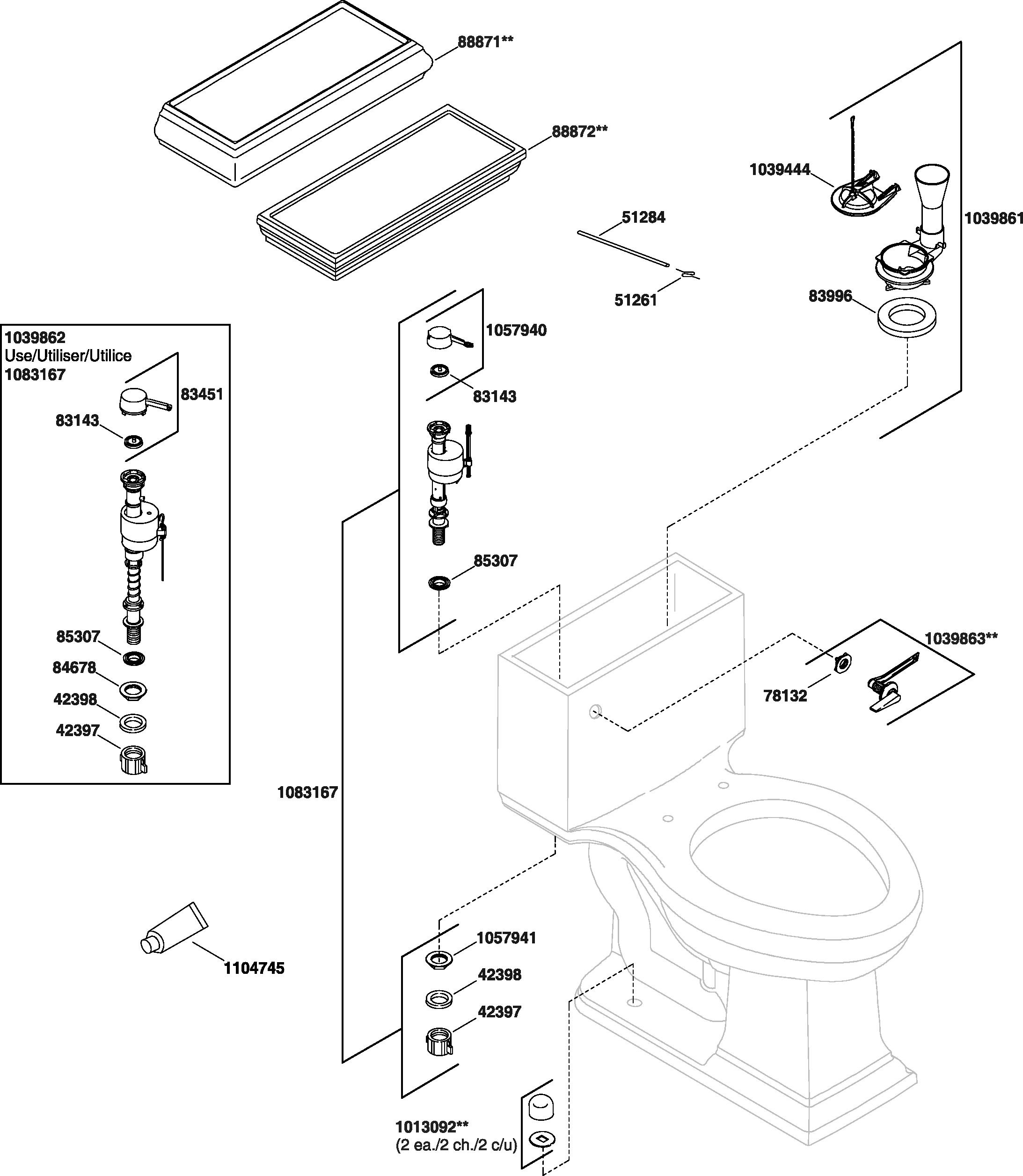Kohler K-3451 Memoirs Toilet Parts