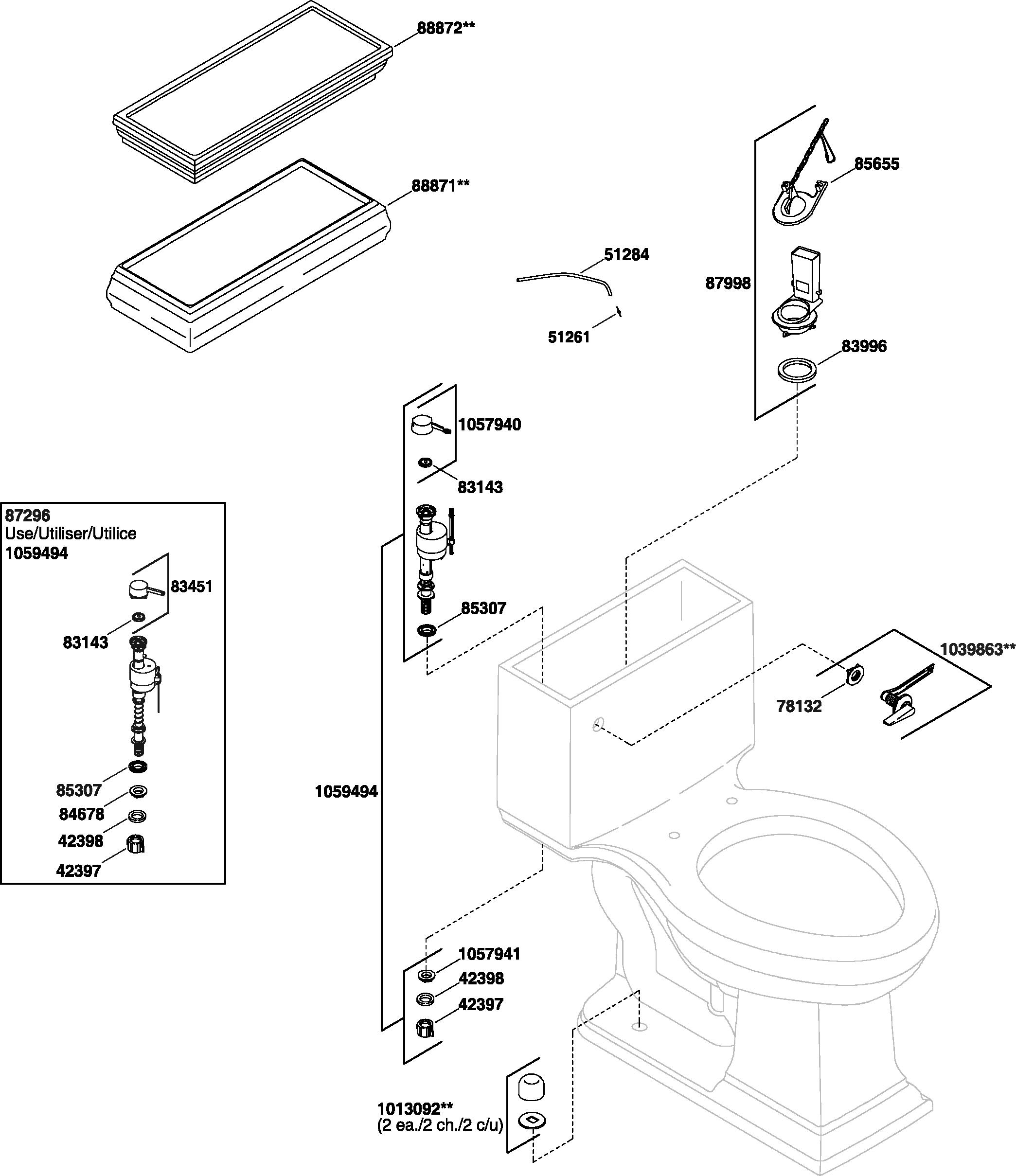 Kohler K 3453 Memoirs Toilet Parts