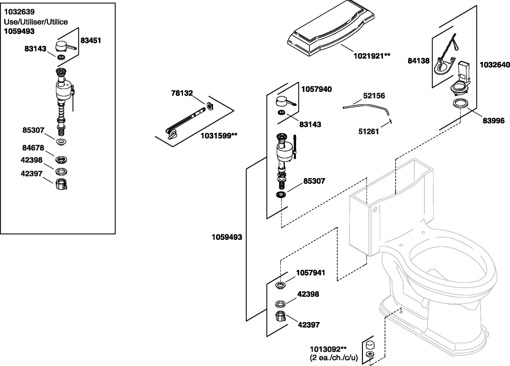 Kohler K 3488 Devonshire Toilet Parts