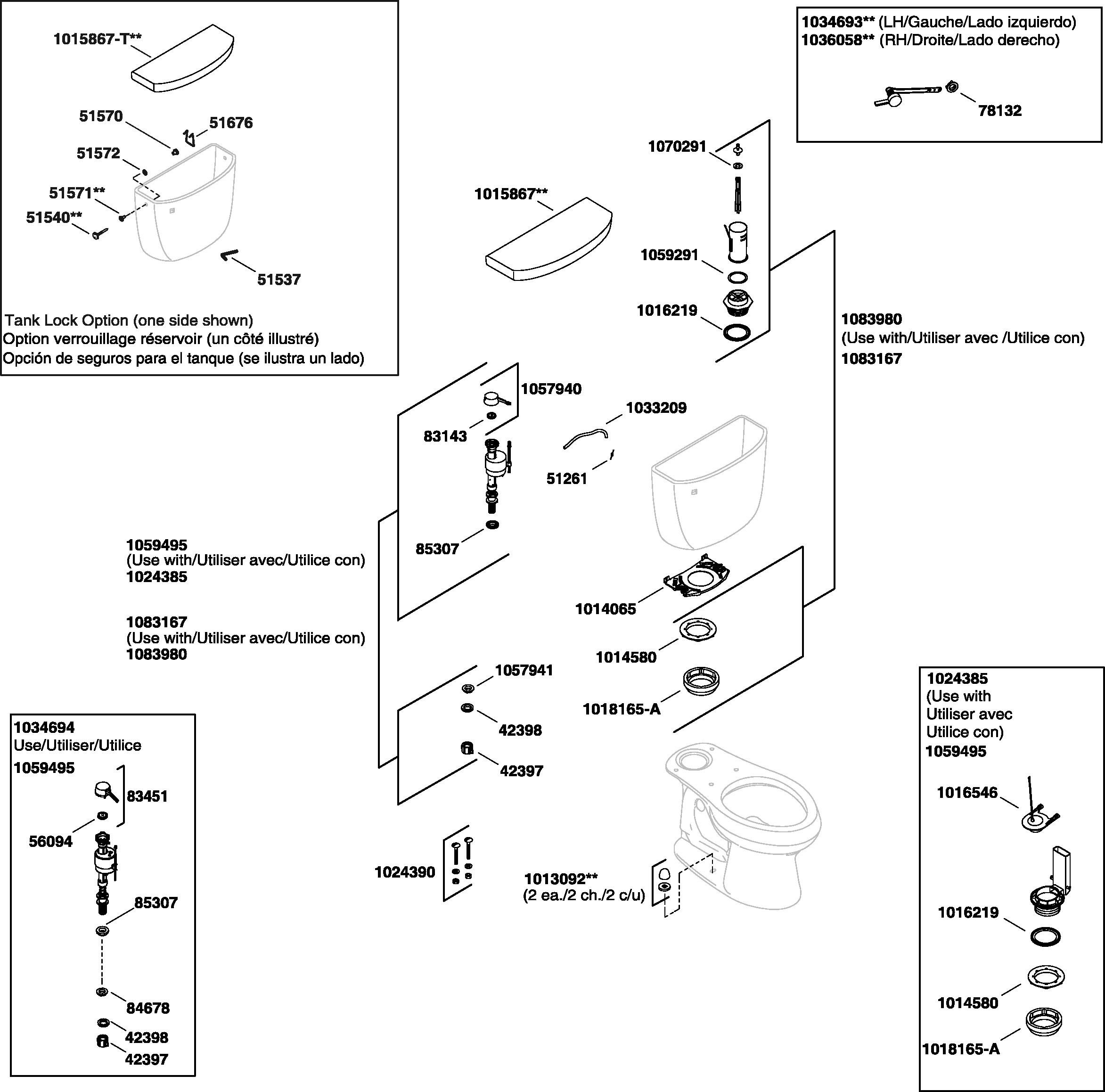 Kohler K 3499 Cimarron Toilet Parts