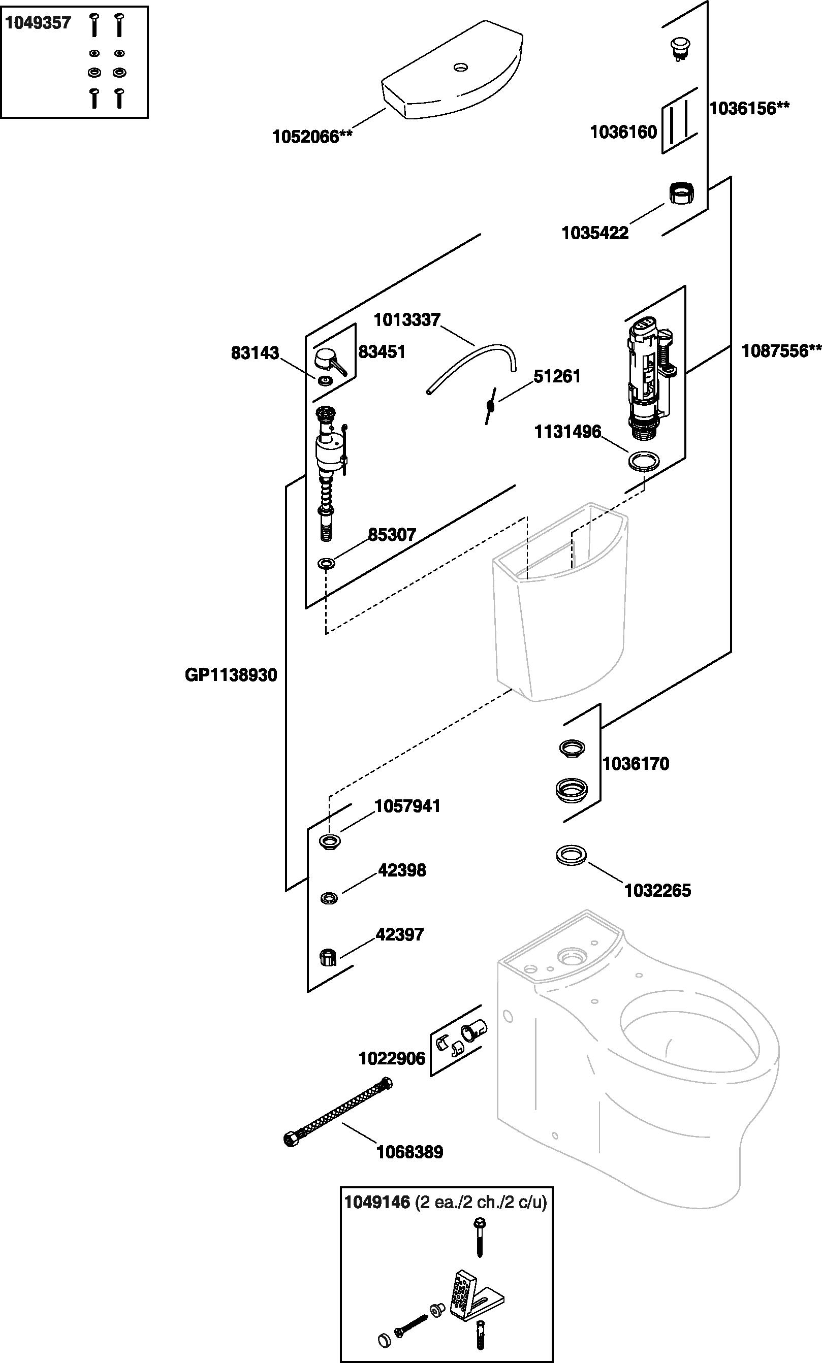 Kohler K-3654 Persuade Toilet Parts
