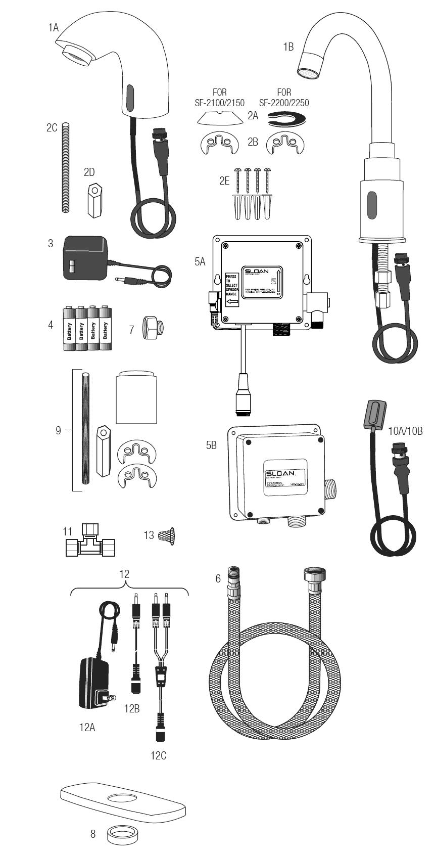 Sloan SF-2250-4-BDM - SF Series Faucet