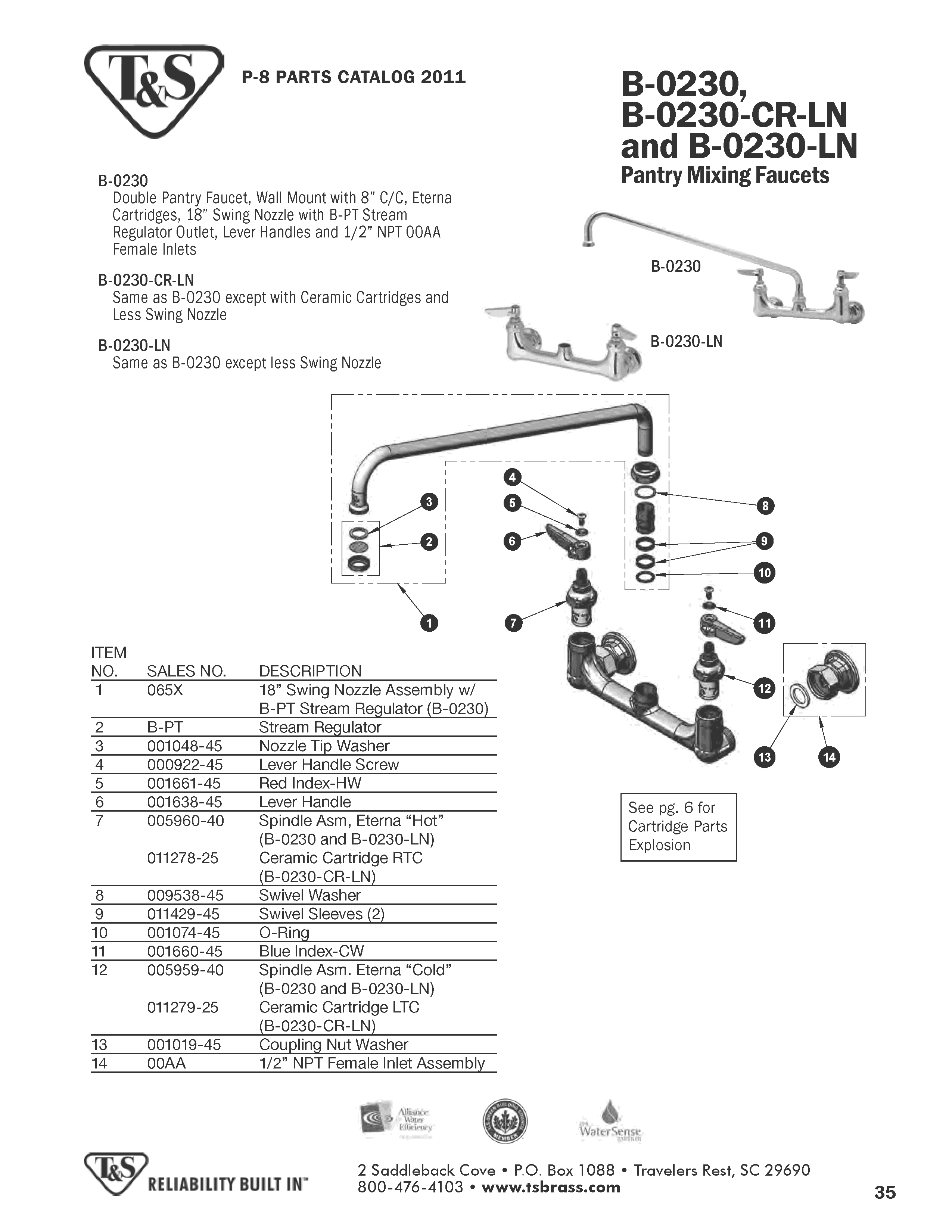 T&S Brass B-0230-LN Replacement Parts